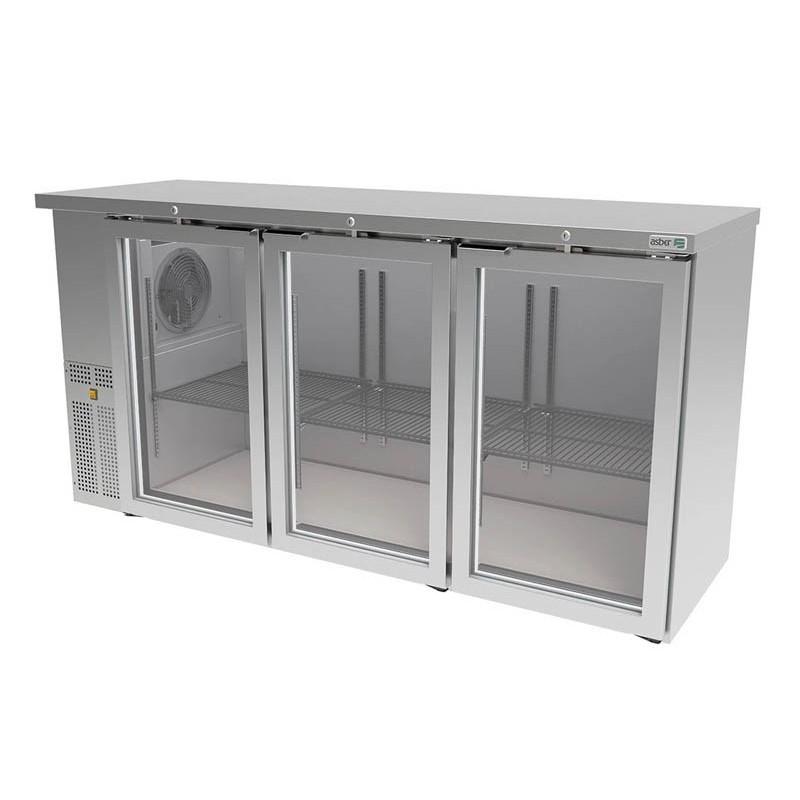 ASBER (ABBC-24-72-SG-HC) Refrigerador contrabarra 3 puertas cristal